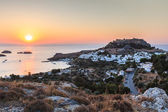 Sunrise in the Lindos — Stock Photo