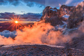 Suset in Dolomite Alps, Italy — Stock Photo