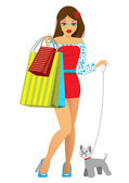The girl with purchases and a doggie — Stock Vector