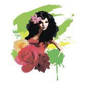 Girl in rose — Stock Vector