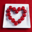 Cherry with love heart shape - Stock Photo