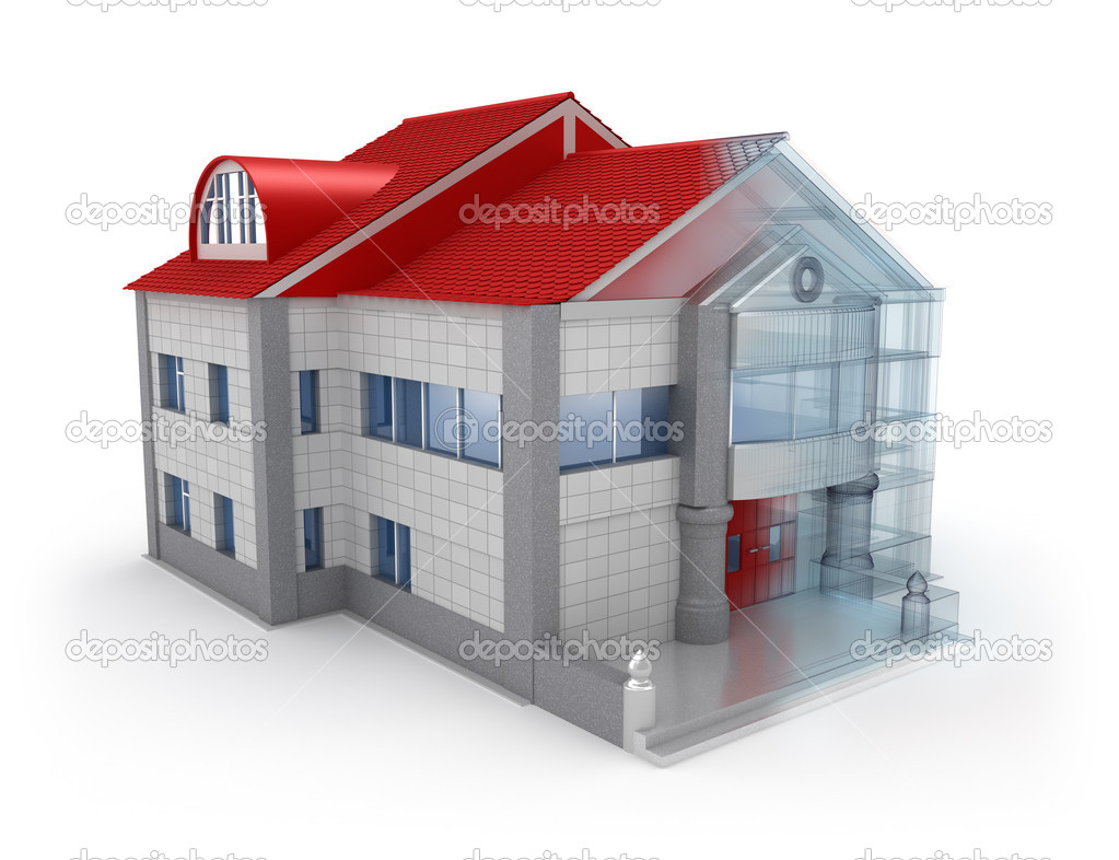 Exterior house design over white background stock photo for Exterior background