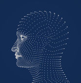 Human head dots model — Stock Photo