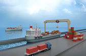 Crane lifting cargo container and loading the ship — Stok fotoğraf