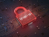 Firewall lock on mainboard , concept background — Stock Photo