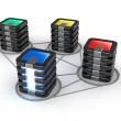 Connected servers farm, 3D icon over white — Stock Photo