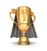 Golden trophy and racing flag — Stock Photo