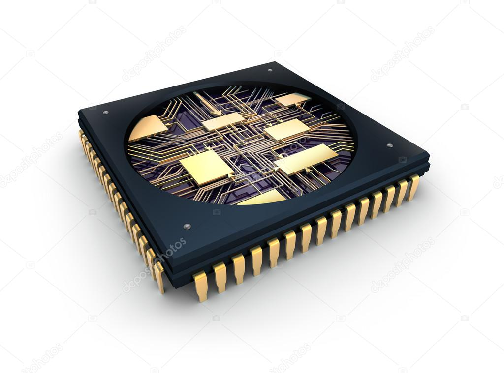 CPU Comuter chip, inside view — Stock Photo #16048559