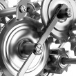 Foto Stock: Gears and cogs working together. Reliable mechanism