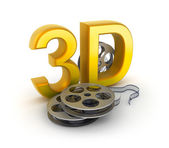 Movie tape and 3D sign. Concept isolated on white — Stock Photo