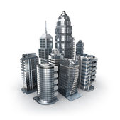 Skyscrapers and magistrals. Chrome city over white — Stock Photo