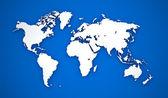 Dünya haritası. mavi zemin üzerine beyaz kıta. — Stok fotoğraf