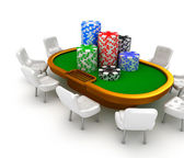 Gambling poker table with chairs and chips on it. — Stock Photo