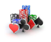 Casino chips with signs in piles isolated on white. — Stock Photo