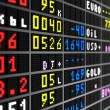 Colored stock ticker board on black — Foto de Stock