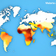 Постер, плакат: Malaria disease spread map Areas and risks