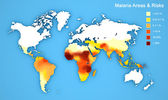 Malaria disease spread map. Areas and risks. — Stock Photo