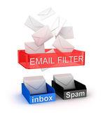 Concepto de filtro de correo electrónico en el trabajo — Foto de Stock