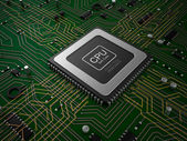 Quad core CPU on motherboard — Stock Photo
