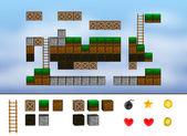 компьютер аркады игровой уровень. кубики, лестница, значки. — Стоковое фото