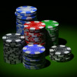 Gambling chips in piles. Rotation loop — Vídeo de stock