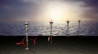 Tidal sea energy, concept — Stock Video