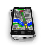 Cellular phone as GPS navigator. My own design — Stock Photo