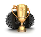 4x4 golden trophy cup with tires. — Stock Photo