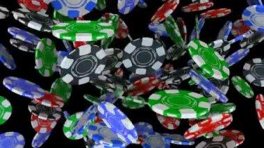 Düşen poker fişleri — Stok video