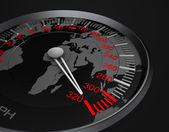 Speedometer and world map — Stock Photo
