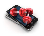 Mobile phone and Dumbbells , 3D concept — Stock Photo