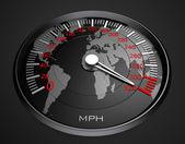 Speedometer and world map, background — Stock Photo