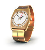 Golden watch over white — Stock Photo