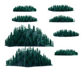 Mountain forest set , isolated — Stock Photo