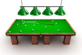 Billiard table with balls and cues — Stock Photo
