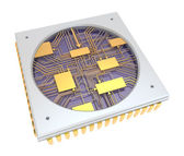 CPU Comuter chip, inside view. isolated — Stock Photo