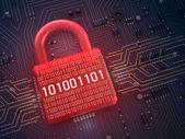 Firewall lock on mainboard , 3D background — Stock Photo