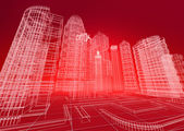 Wire city abstract background — Stock Photo