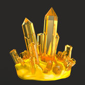 Golden crystals . Isolated on white — Stock Photo