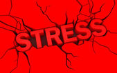 Word stress in red color with cracks over — Stock Photo