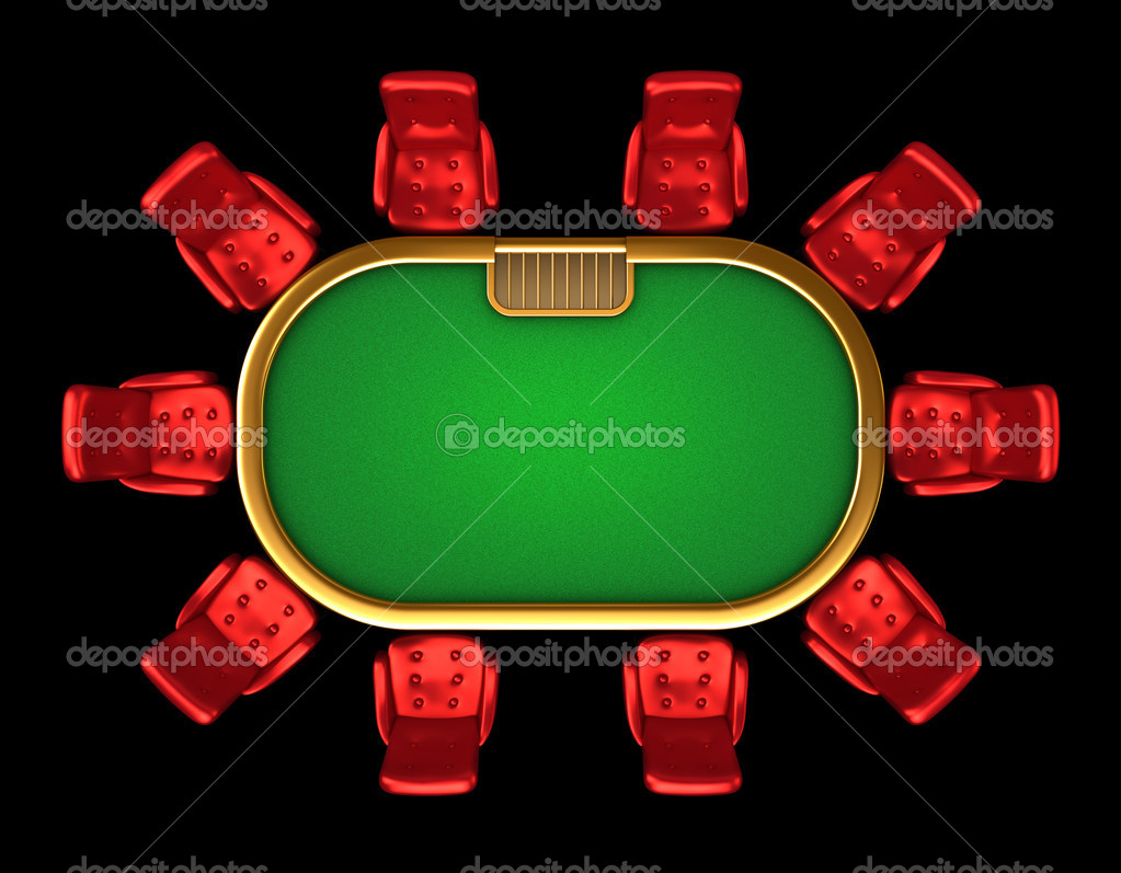 Poker table with chairs top side view isolated stock photo