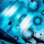 Satellite dish transmission data on background digital blue — Stock Photo #32690255