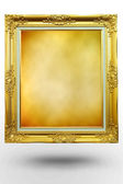 Old antique gold frame in background Brown over white background — Stock Photo