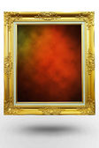 Old antique gold frame in background red over white background — Stock Photo