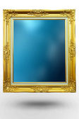Old antique gold frame in background blue over white background — Stock Photo
