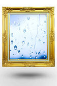 Old antique gold frame in water background over white background — Stock Photo