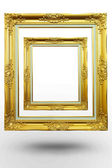 Old antique gold frame in blank background over white background — Stock Photo
