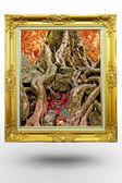 Vecchio telaio oro antico nell'albero di sfondo su sfondo bianco — Foto Stock