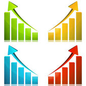 Business graph growth yellow arrow — Stock Photo