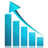 Business graph growth blue arrow — Stock Photo